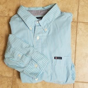 Chaps easy care striped casual button down